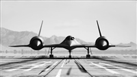 SR 71 ON GROUND BLACK AND WHITE
